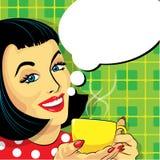 有咖啡的妇女和讲话泡影 免版税库存照片