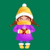 有咖啡的手拉的美丽的逗人喜爱的女孩在手上 寒假和圣诞快乐孩子传染媒介例证 库存例证