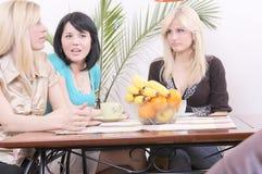 有咖啡饮用的乐趣的女朋友 免版税库存图片