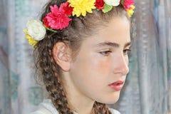 有哀伤的表示的青少年的女孩 库存照片