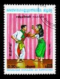 有响板的,民间传说serie舞蹈家,大约1983年 免版税库存照片