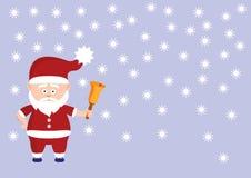 有响铃的逗人喜爱的圣诞老人 免版税库存图片