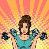 有哑铃的美丽的妇女在健身房 向量例证