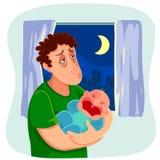 有哭泣的婴孩的疲乏的父亲 图库摄影