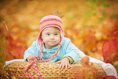 有唐氏综合症的女婴在秋天森林里休息 库存照片