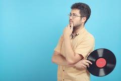有唱片的人 免版税库存图片
