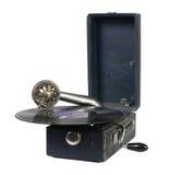 有唱片的老留声机 库存图片