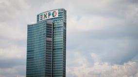 有商展商标的摩天大楼在波尔塔Nuova在米兰,意大利 免版税库存照片