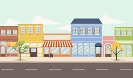 有商店的五颜六色的城市 免版税图库摄影