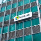 有商标的微软公司办公室在新加坡 库存照片