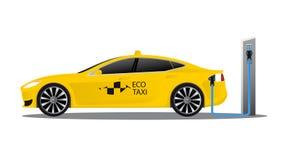 有商标eco出租汽车的黄色电车 库存照片