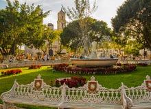 有喷泉的中心广场和大教堂在省镇 免版税库存照片