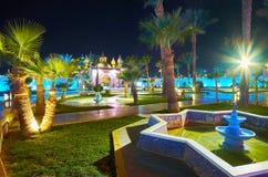 有喷泉的庭院, Sharm El谢赫,埃及 库存图片