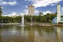 有喷泉的湖在公园圣杜蒙特,佐尾Jose Dos坎波斯,巴西 免版税库存照片