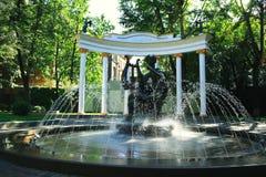 有喷泉的莫斯科庭院 免版税库存图片