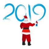 有喷雾器的圣诞老人写` 2019年` 库存例证