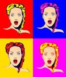 有四种不同颜色的虚构惊奇的妇女 库存照片