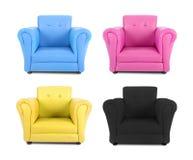 有四色过程的颜色的四把扶手椅子 免版税库存照片