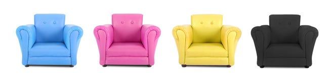 有四色过程的颜色的四把扶手椅子 库存照片