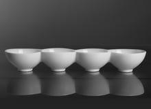 有四隔间的圆的瓷碗 正面图 库存照片