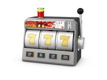 有困境的,赌博娱乐场概念, 3d老虎机例证 库存照片