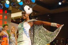 有国家服装的南非小姐 免版税库存图片