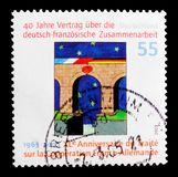 有国旗和心脏的,第40 Anniv桥梁 德国-法国的合作条约serie,大约2003年 库存照片