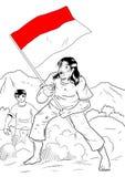 有国旗的印度尼西亚人 库存例证