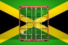 有国旗的运输集装箱 免版税库存照片