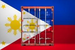 有国旗的运输集装箱 免版税图库摄影