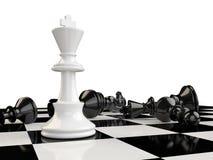 有国王站立的一杆棋枰和在的其他片断 库存例证