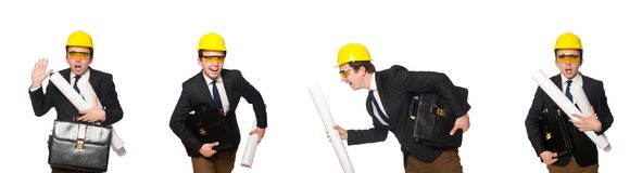 有图画的滑稽的建筑师在白色 免版税图库摄影