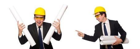 有图画的滑稽的建筑师在白色 库存图片