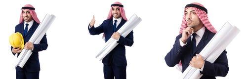 有图画的阿拉伯工程师在白色 免版税库存图片
