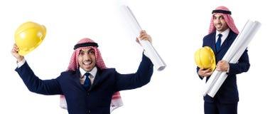 有图画的阿拉伯工程师在白色 库存图片