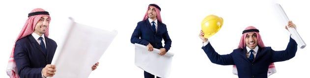 有图画的阿拉伯工程师在白色 库存照片