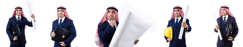 有图画的阿拉伯工程师在白色 免版税图库摄影