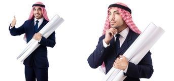 有图画的阿拉伯工程师在白色 图库摄影