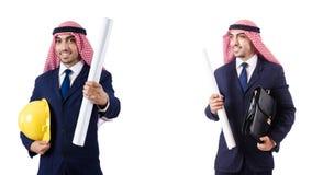 有图画的阿拉伯工程师在白色 免版税库存照片