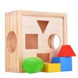 有图的木逻辑比赛箱子 免版税库存图片