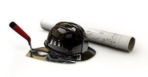有图纸和统治者的安全帽在白色 免版税库存图片