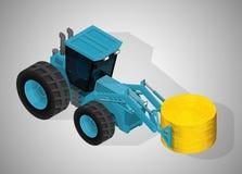 有圆的打包机钳位的农用拖拉机 库存例证