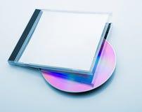 有圆盘的CD的箱子 免版税库存照片