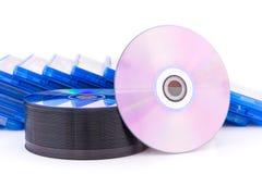 有圆盘的DVD/CD箱子 免版税图库摄影