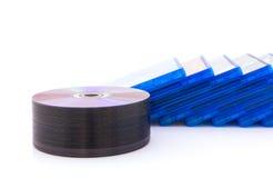 有圆盘的DVD/CD箱子 免版税库存图片