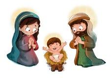 有圣约瑟夫和的圣母玛丽亚孩子耶稣 免版税图库摄影