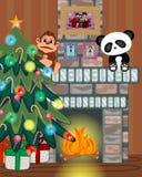 有圣诞树和火地方传染媒介例证的圣诞老人 库存图片