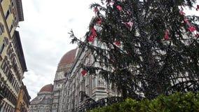 有圣诞树和鸠飞行的佛罗伦萨大教堂 股票视频