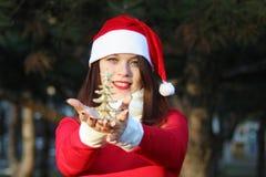 有圣诞树的一个少妇 免版税库存图片