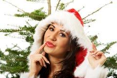 有圣诞树的圣诞老人妇女在背景 免版税图库摄影